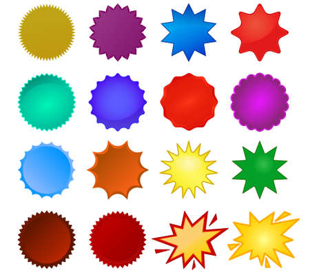 Starburst seals set, bursting star, glass star shapes and promotional stickers. Colorful vector collection