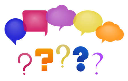 discussion: Discussion - speech bubbles and question marks. Vector illustration, fully editable, you can change form and color Illustration