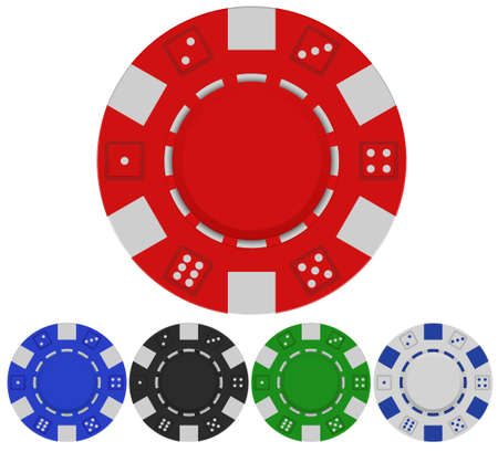 red casino poker chip front view, set of poker chips in vector format