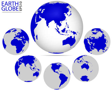earth: Earth globe, different continents. Vector format of Earth Planet, fully editable, you can change form and color Illustration