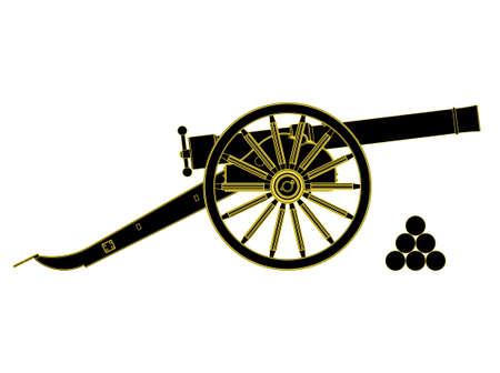 civil war: Cannon 18 th century.  Vector illustration, you can easily change the color and size