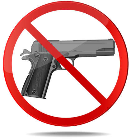 no person: No guns sign. Red prohibition vector symbol. You can simply change color and size Illustration
