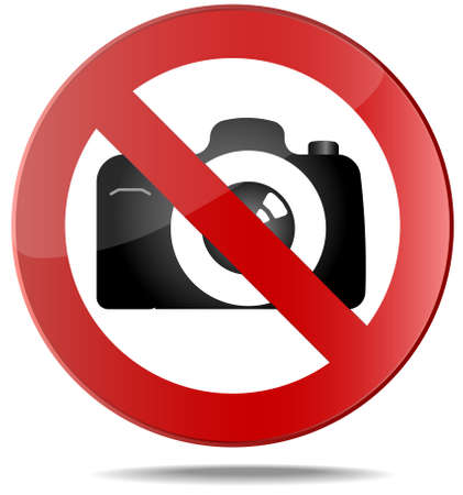 no color: No  Camera. No photo sign. Red prohibition vector symbol. You can simply change color and size