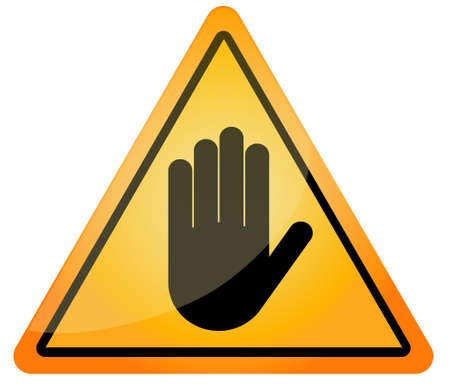 STOP - Orange triangle stop hand sign for prohibited activities. Vector illustration - you can simply change color and size
