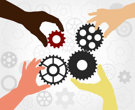 industry concept: Teamwork. Hand silhouettes completing a gears chain. Finding the solution as a teamwork - vector illustration fully editable, you can change form and color