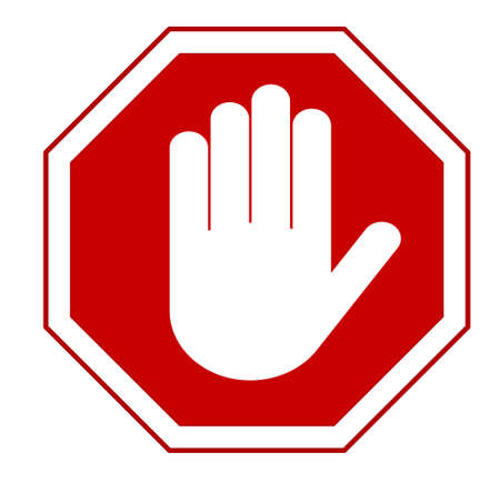 STOP Red octagonal stop hand sign for prohibited activities. Vector illustration - you can simply change color and size