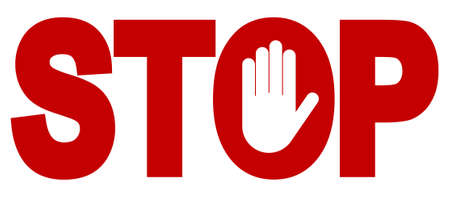 hand stop: Red stop inscription, hand sign for prohibited activities. Vector illustration - you can simply change color and size