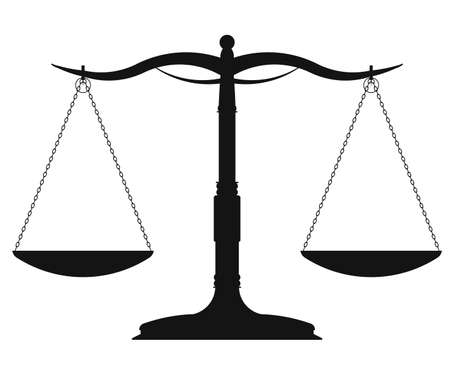 legal system: Scales of Justice, weight symbol - vector illustration