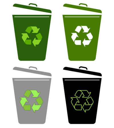 garbage can: recycle bin, garbage can - vector illustration fully editable, you can change form and color.