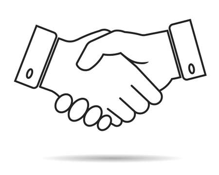 business partnership: handshake contour icon, partnership, business finance concept - vector illustration fully editable, you can change form and color