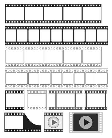 cinema film: film strip, 35 mm negative strip, movie, video player icon - vector illustration fully editable, you can change form and color Illustration