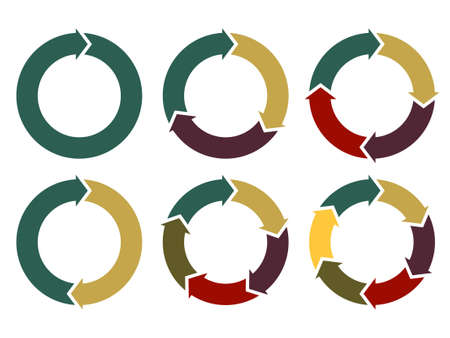 arrows circle: Cycle arrow diagrams set, circle arrows for infographic, template for business project, diagram, graph and chart. Vector illustration Illustration