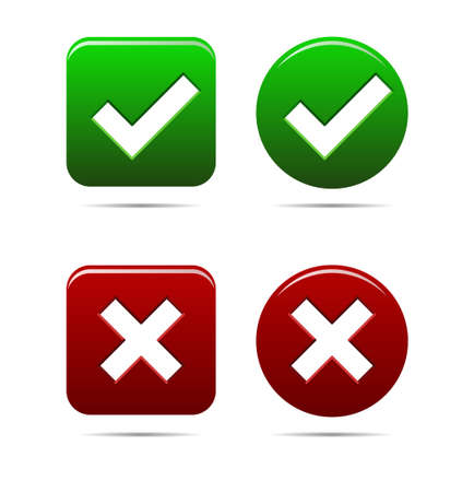 cross mark: Tick and cross mark, yes no buttons green an red - vector illustration, you can easily change the color and size Illustration