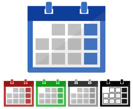 sliver: calendar in five colours - vector illustration fully editable, you can change form and color Illustration