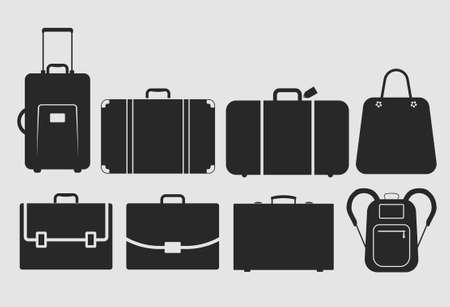 suitcase, bag icons set, vector illustration, fully editable, you can change form and color