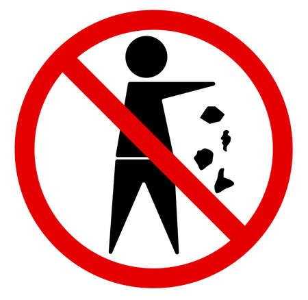 littering: No littering sign, prohibited activitive. Vector illustration - you can simply change color and size