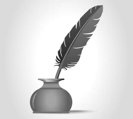 feather quill: feather quill in the inkwell - vector illustration, you can change the shape and color as you wish