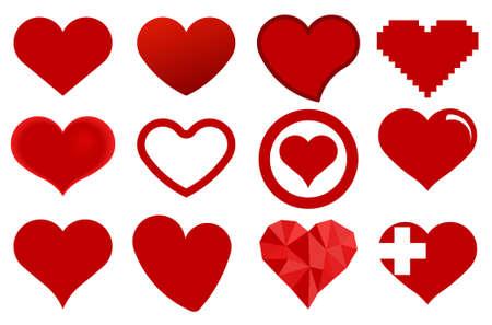 Red heart icons. Love symbol - vector illustration 일러스트