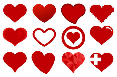 Red heart icons. Love symbol - vector illustration Vettoriali