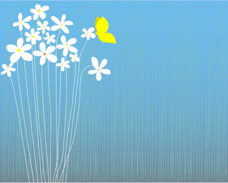 yellow butterfly: Blue striped background with white flowers and yellow butterfly, space for text, vector illustration, well layered Illustration