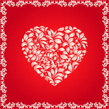 shiny hearts: Heart shape made of decorative floral pattern, decorative frame. Love texture - vector illustration, well layered, you can change color and shapes