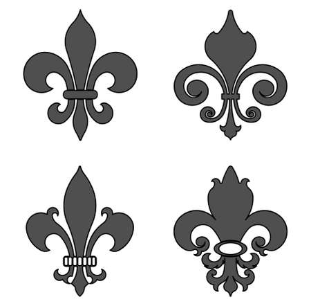 heraldic symbol: fleur de lis, heraldic symbol, flowers decorative design set - vector illustration, you can change the shape and color as you wish Illustration