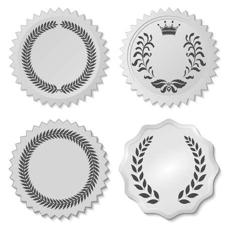 corona rey: adhesivos decorativos creados con las hojas de laurel, laurel circular foliadas emblema, coronas que representan un premio, nobleza heráldica - ilustración vectorial, puede cambiar la forma y el color que desee Vectores