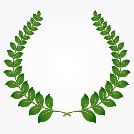 laurel branch: Round green laurel wreaths, laurel branch. Vector illustration, fully editable, you can change form and color