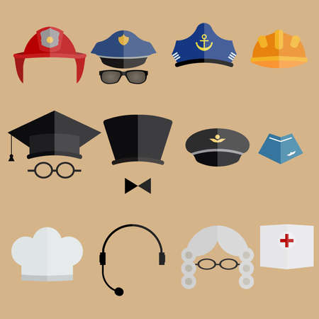 cockade: Various professional people hats - vector illustration. Judge wig, forage cap, service cap and other