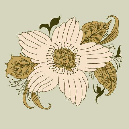 pistil: Flower hand drawn, doodle floral design element.  Vector illustration, you can easily change the color and size Illustration