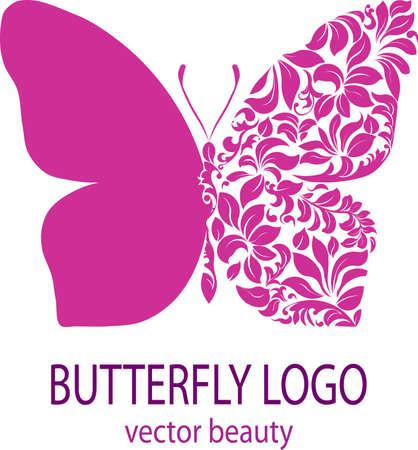farfalla tatuaggio: Logo farfalla. Farfalla viola con ali fantasia, icona, avatar, stile del fiore, spa salone di bellezza logotipo, insegne, etichetta, distintivo, elemento vettore, modello di disegno floreale per la tua azienda Vettoriali