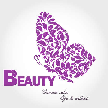 beauty in nature: Butterfly with patterned wing logo, business sign template for beauty industry, cosmetic salon, concept of femininity, icon, avatar, flower style, logotype, insignia, label, badge, vector element, floral design template Illustration
