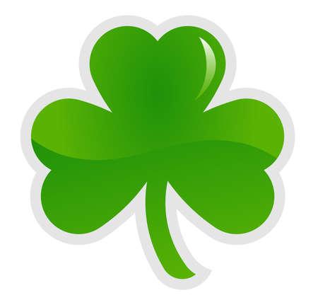 Green shamrock, three leaf clover, vector illustration