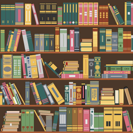 wooden shelf: bookshelf, books on a shelves in library, seamless pattern flat design style - vector illustration, fully editable, you can change form and color Illustration