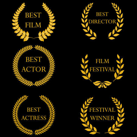 Film awards and nominations, festival winners. Golden laurel wreaths on black background. Vector illustration, fully editable, you can change form and color Vectores