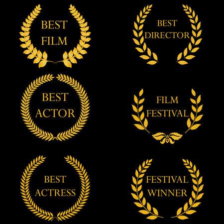 premios: Premios del Cine y nominaciones, ganadores del festival. Coronas de laurel de oro en fondo negro. Ilustración del vector, completamente editable, puede cambiar la forma y el color