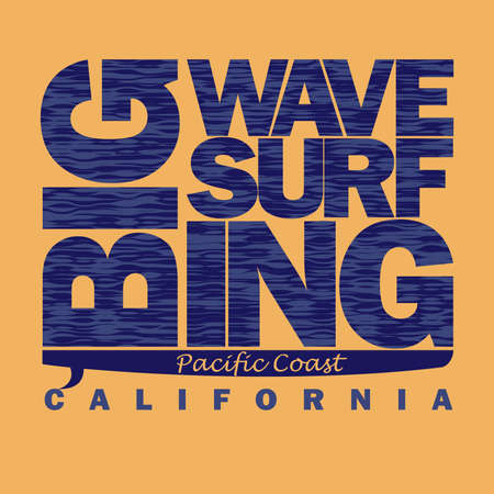 california coast: Surfing t-shirt graphic design. Pacific Coast California, Surfboard surfers wear typography emblem - vector illustration