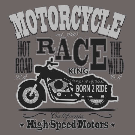 motorcycle racing: Motorcycle Racing Typography Graphics. California Motors. T-shirt Design, vector illustration Vectores