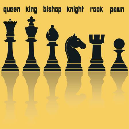 caballo de ajedrez: Piezas de ajedrez Siluetas con la reflexión. Reina Rey Obispo Caballero torre y peón. Ilustración vectorial