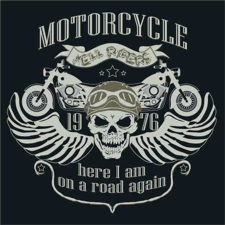 casco de moto: Logo de la motocicleta Modelo del diseño. Jinete cráneo. Camiseta del motorista, Racing Tipografía Gráficos. Desgaste de los motoristas. ilustración vectorial, así capas