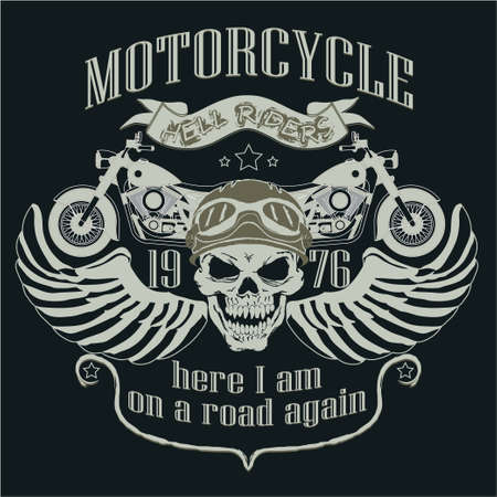 Motorcycle Design Template Logo. Skull rider. Biker T-shirt, Racing Typography Graphics. Bikers wear. vector illustration, well layered