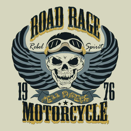 Motorcycle T-shirt Design. Skull with a rider helmet. Racing Typography Graphics. Bikers wear. vector illustration, well layered Ilustracja