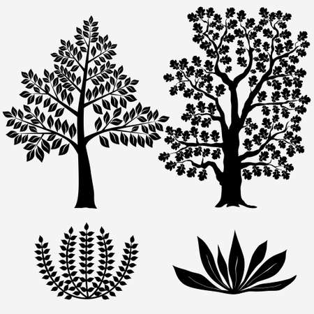 allegory painting: Trees and Bushes. Black tree silhouette - Vector illustration