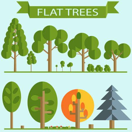 albero della vita: Set di alberi verdi piatto Design, alberi a foglia caduca, abete rosso, pino, albero di autunno, erba fiori cespugli. Elementi per il gioco, sprites. Illustrazione vettoriale
