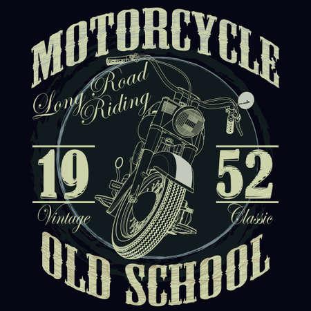 오토바이 레이싱 타이포그래피 그래픽. 오래된 학교 자전거. T 셔츠 디자인, 벡터 일러스트 레이 션 일러스트