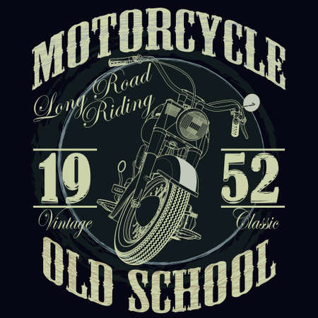 old sign: Motorcycle Racing Typography Graphics. Old school bike. T-shirt Design, vector illustration