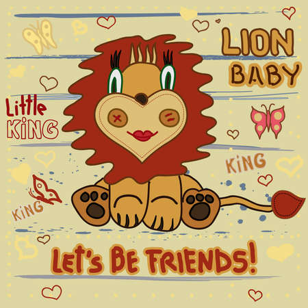 lion clipart: Cute Lion. Little Lion baby child drawing by hand on a striped background with heart and butterflies - vector