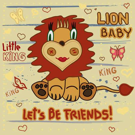 lion dessin: Lion mignon. Little Lion b�b� dessin enfant � la main sur un fond ray� avec le coeur et les papillons - vecteur
