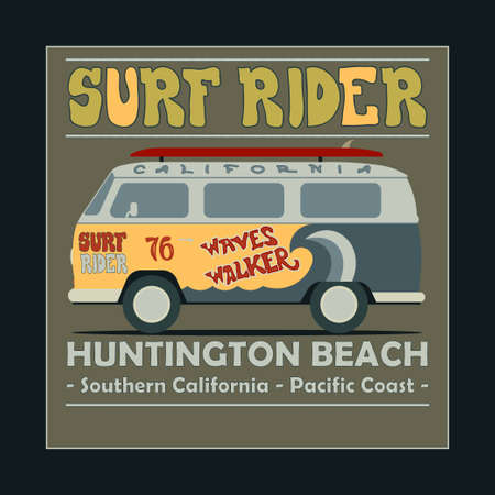 huntington beach: Surfing t-shirt graphic design. Vintage Retro Surf BUS. Surf Lifestyle. Huntington Beach. Surf typography label, summer, ocean, California, retro style emblem - vector illustration