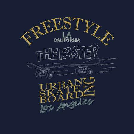 skate board: Skateboarding t-shirt graphic design. Freestyle California Skate Board typography emblem - vector illustration Illustration